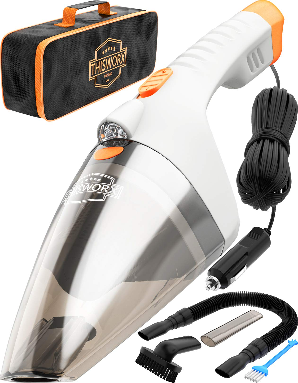 Car Vacuum Cleaner high Power - 110W 12v Corded auto Portable Vacuum Cleaner for Car Interior Cleaning - Lightweight DC Car Vac - Nozzle Set - Mini Handheld Car Vaccuume Cleaner for Men Women (White)