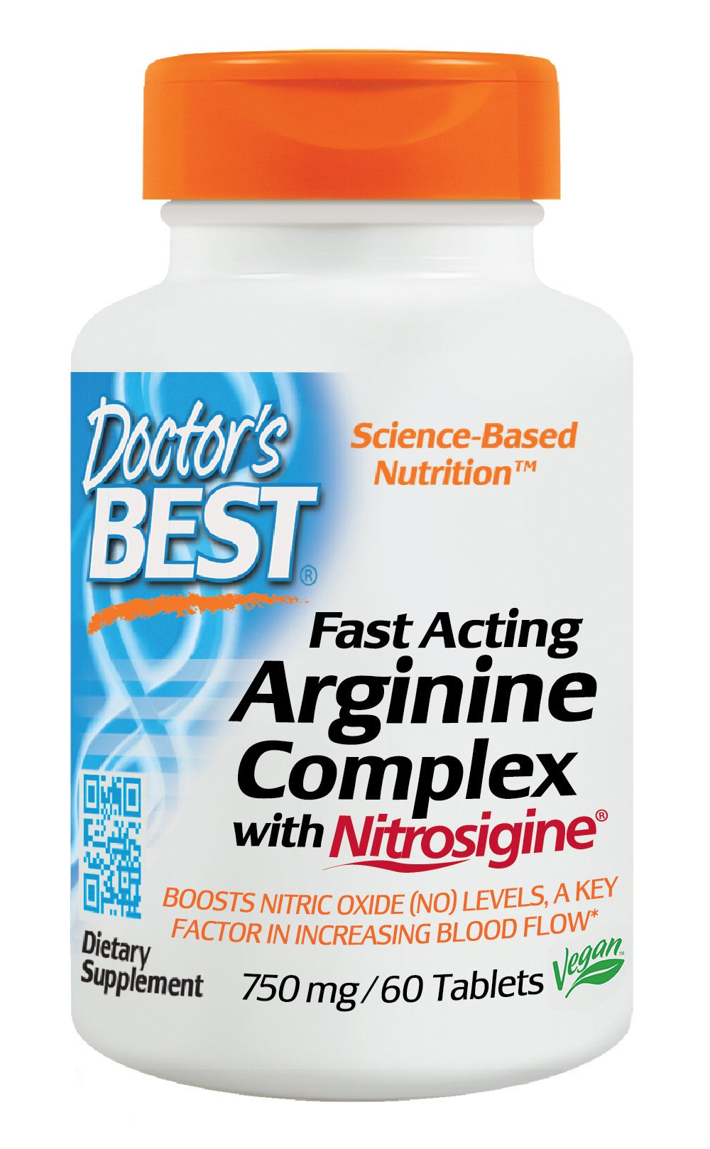 Doctor's Best Fast Acting Arginine Complex with Nitrosigine, Non-GMO, Vegan, Gluten Free, 750 mg, 60 Tablets