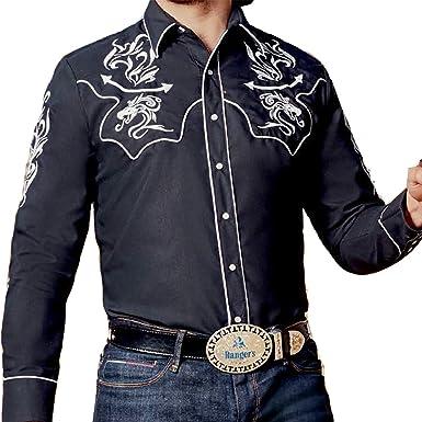 Modestone Mens Fitted Western Camisa Vaquera Dragon Western Filigree Embroidered Black: Amazon.es: Ropa y accesorios