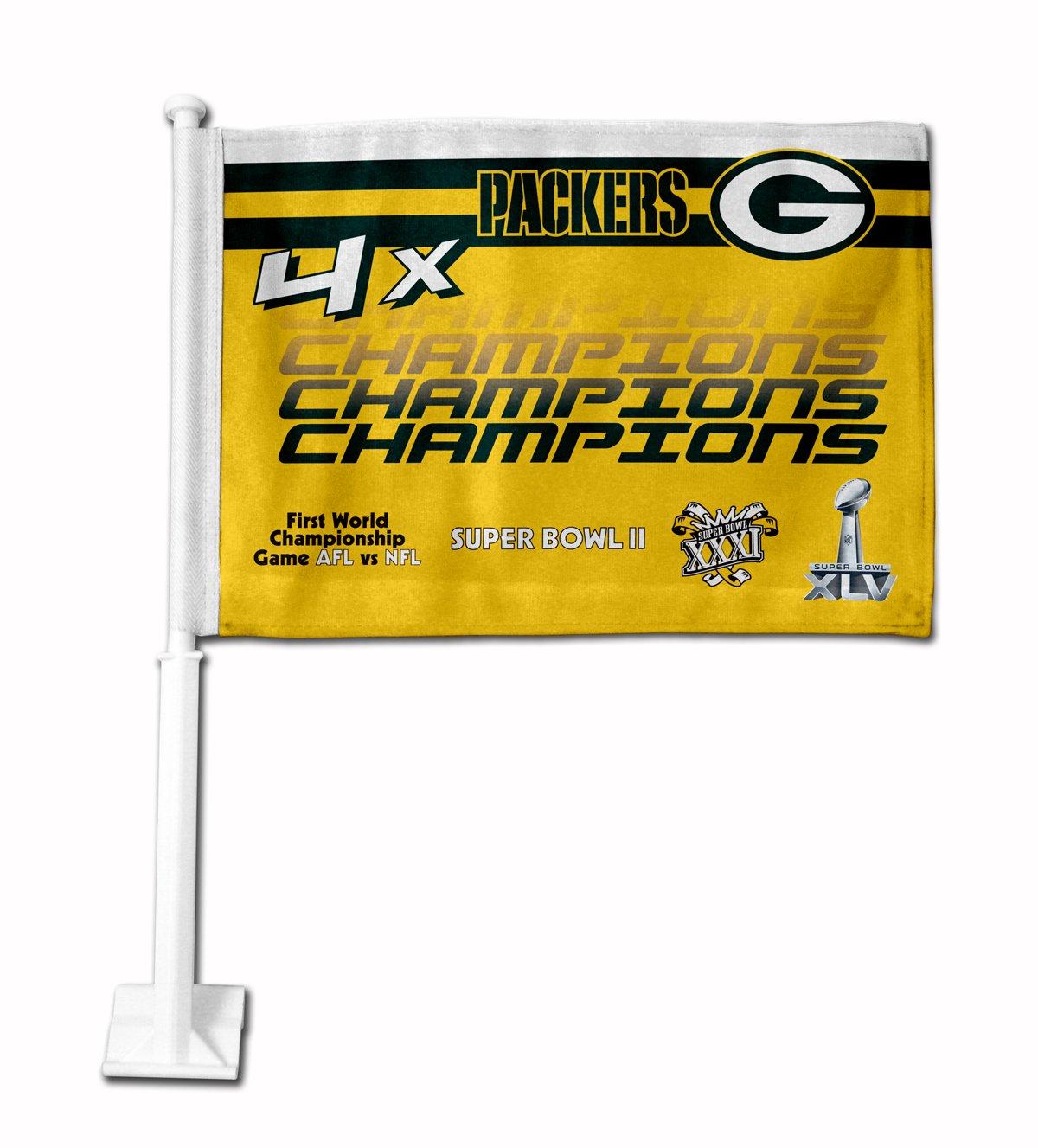 NFL Green Bay Packers 4X Super Bowl Champion Car Flag Rico Industries FG33SB4T