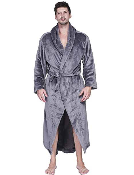 Aibrou Mens Robes Big and Tall Plush Long Hood Fleece Bathrobe