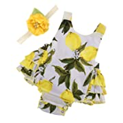 PrinceSasa Baby Girl Clothes Yellow Lemon Floral Ruffles Summer Cake Smash Dress and Headband for Newborn Gifts,A6,0-6 Months(Size S)