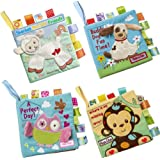TEUN Baby Soft Book Cloth Book Set 4 Pack Crinkle Book Educational Learning Toy for Infant Fabric Baby Activity Crinkle Book