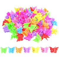100 Packs Assorted Color Butterfly Hair Clips, Bantoye Girls Beautiful Mini Butterfly Hair Clips Hair Accessories for…