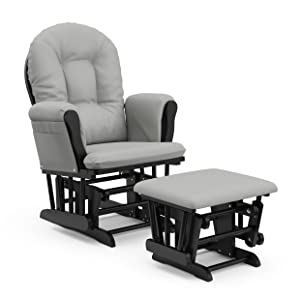 StorkCraft Hoop Glider and Ottoman Cushions, Black with Light Gray