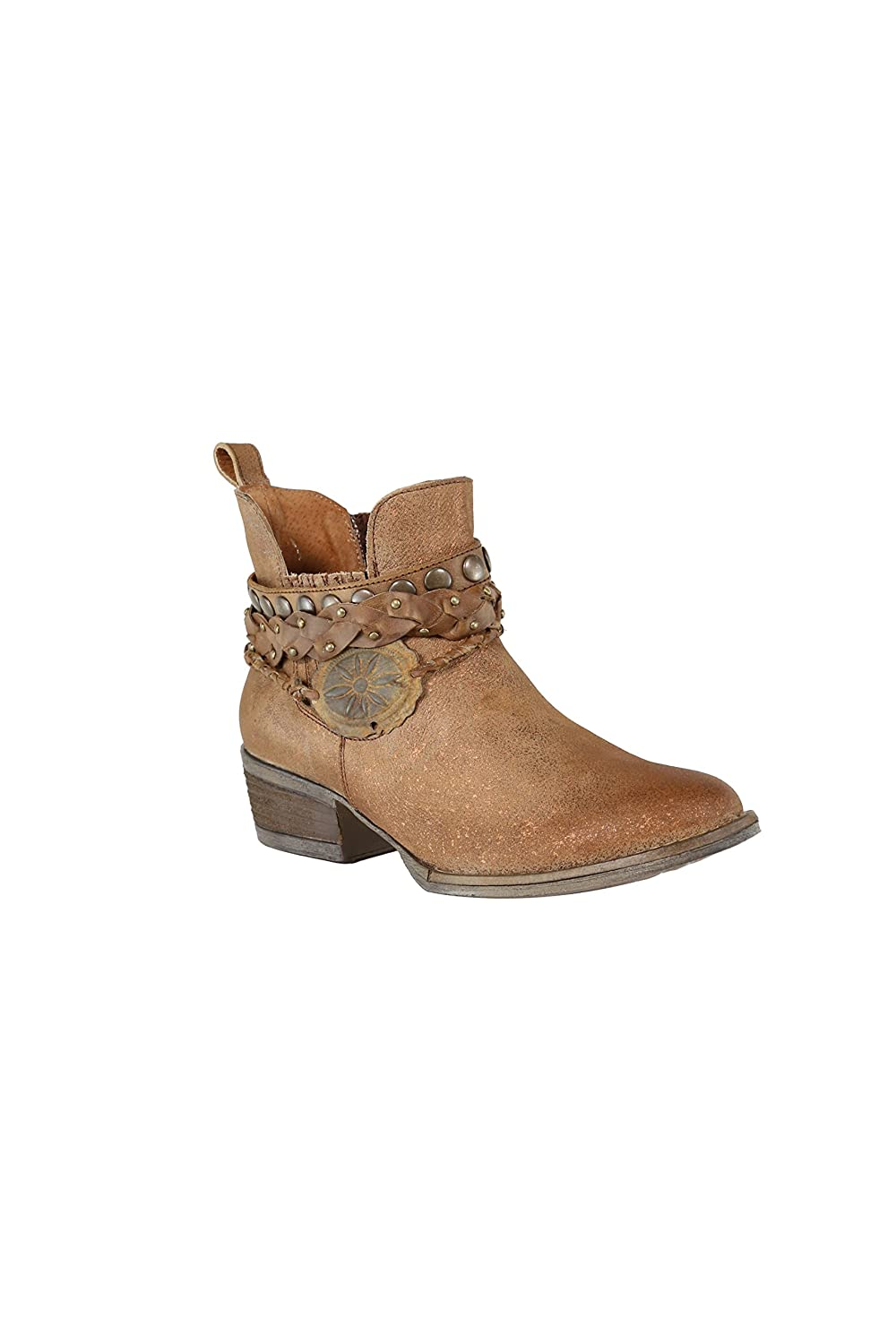 Corral Women's Brown Harness & Stud Details Round Toe Leather Western Ankle  Cowboy Boots - Sizes 5-12 B