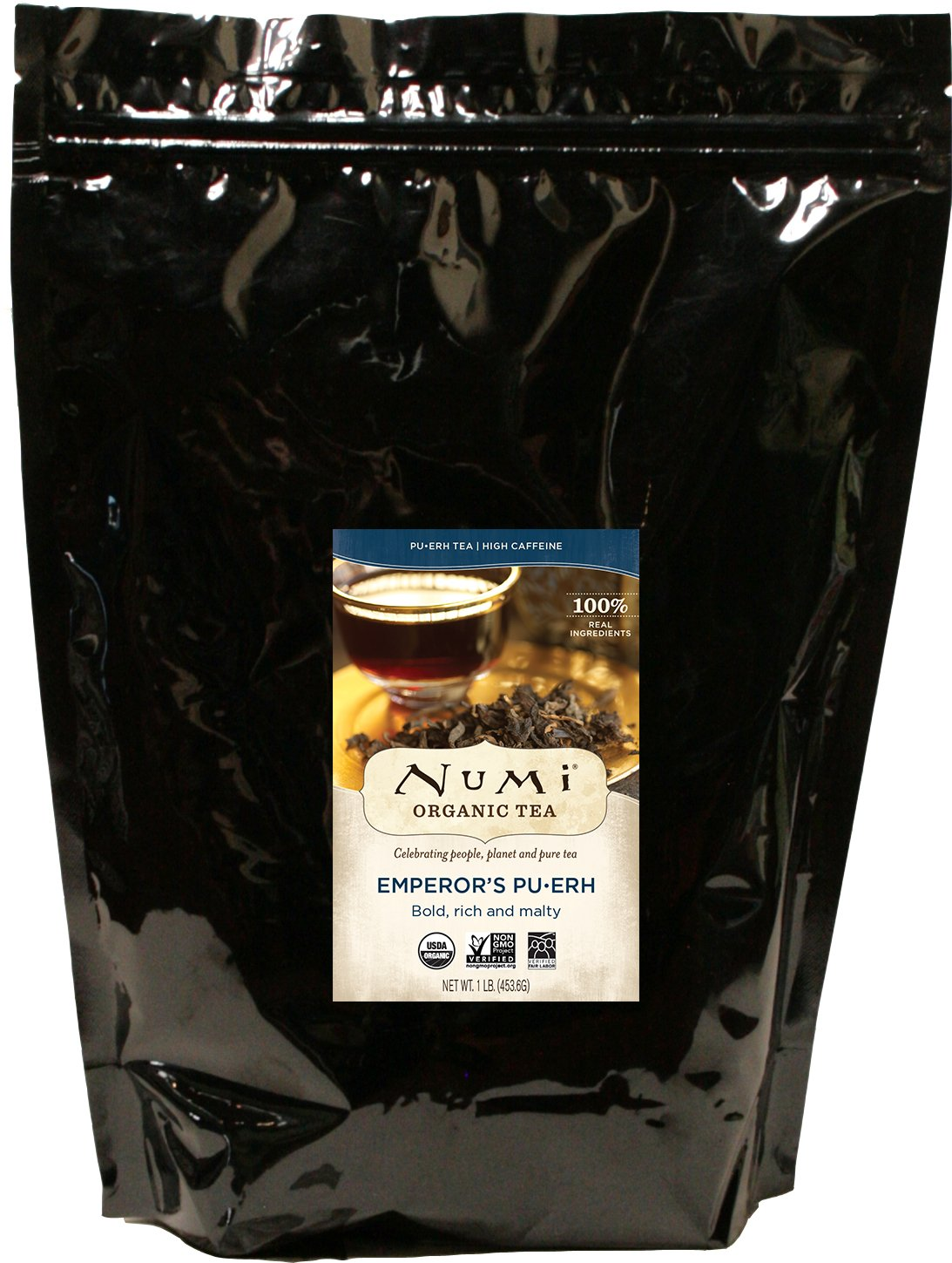 Numi Organic Tea Emperor's Pu-erh, 16 Ounce Pouch, Loose Leaf Black Tea (Packaging May Vary) by Numi