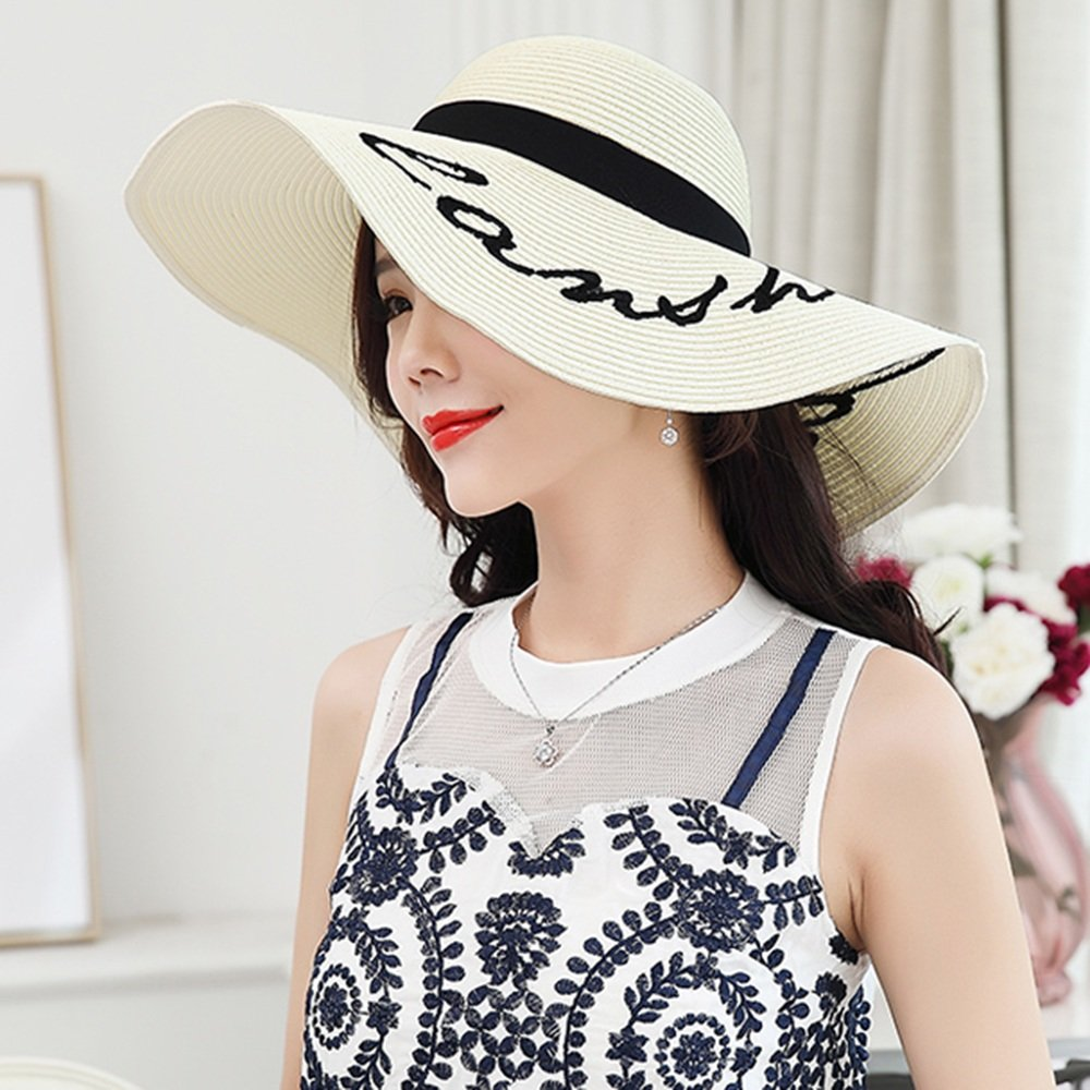 GYH MaoZi LJHA Hat Female Summer Folding Sunscreen Straw Hat Beach Hat Windproof Breathable Sun Hat Outdoor UV Protection Cap Color : Beige