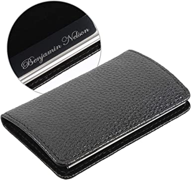 Men Two Side Open PU Leather Steel Name Business ID Card Case Holder Father Gift