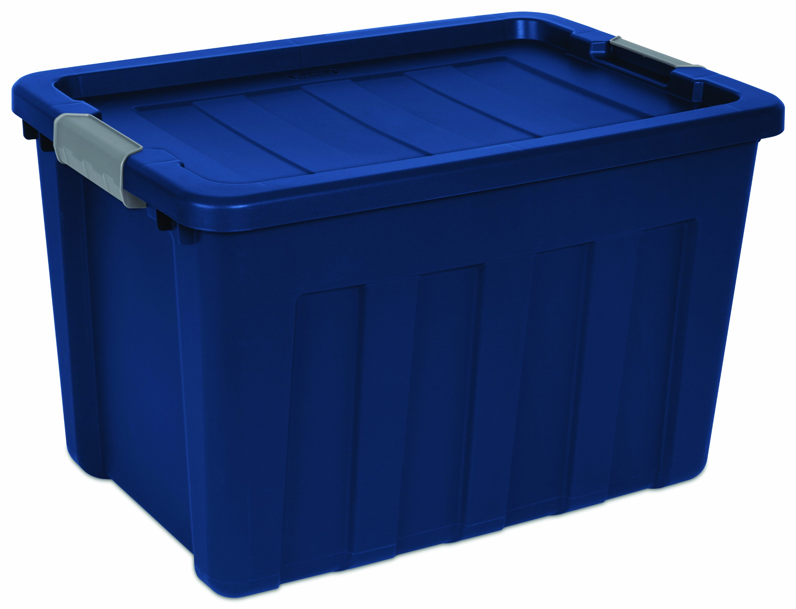 Sterilite 16877404 25 Gallon Ultra Tote, True Blue lid & base with Titanium latches, 4-Pack