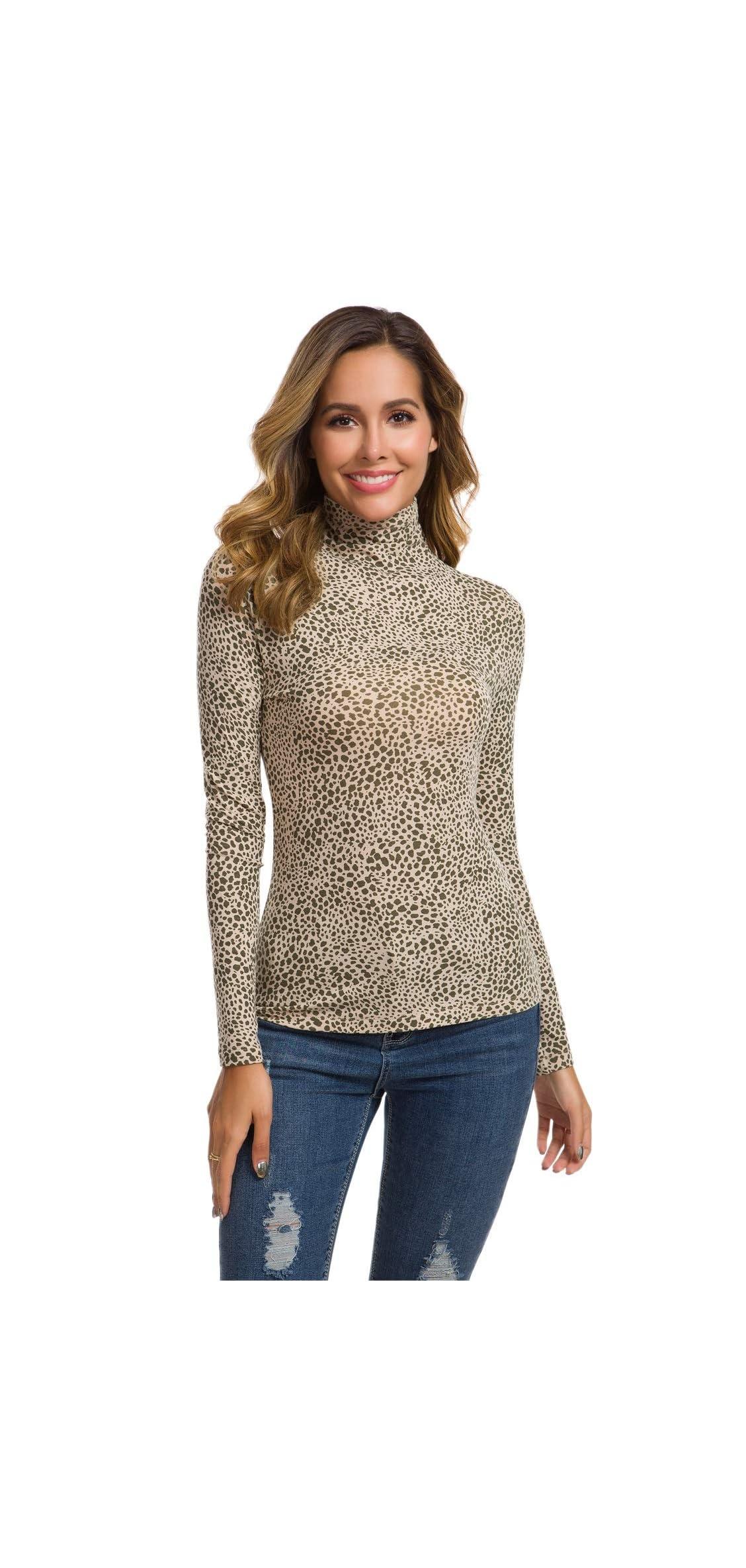 Women's Basic Long Sleeve Turtleneck T-shirt Slim Fit Pullover