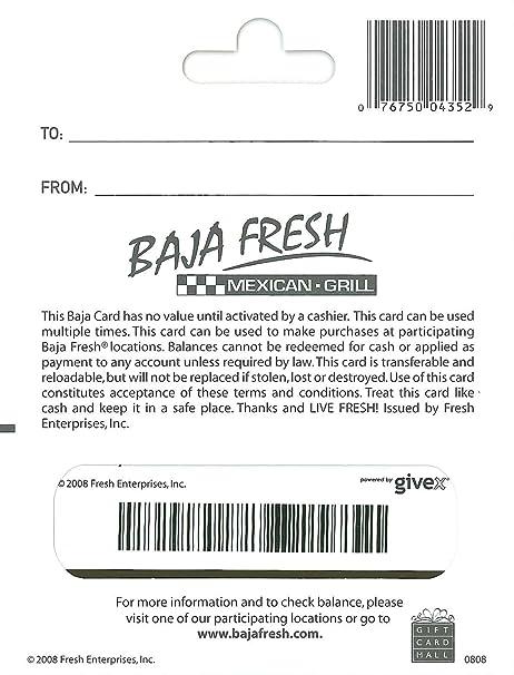 Amazon.com: Baja Fresh $25: Gift Cards