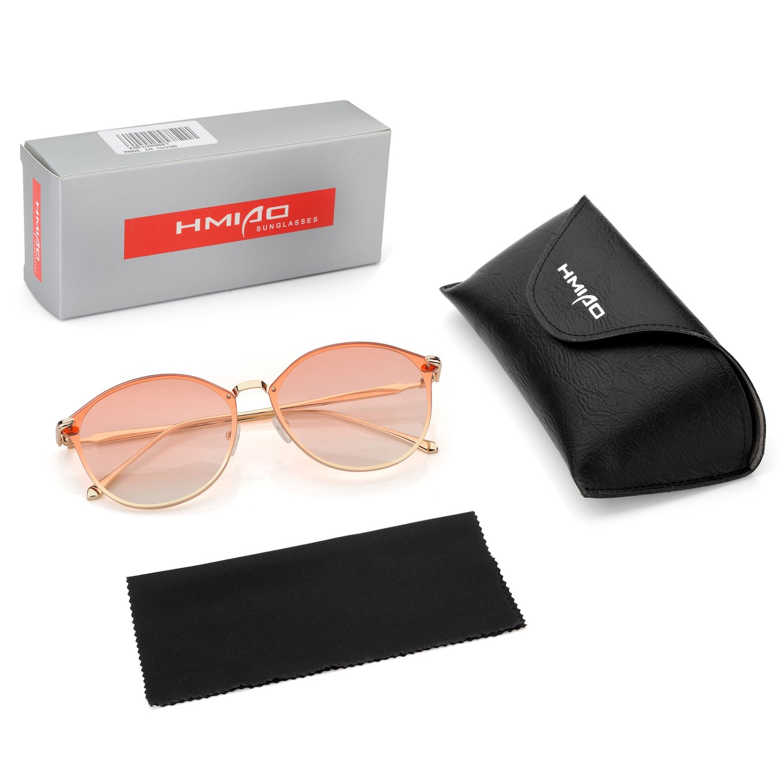 Women Sunglasses w Gradient Lens Metal Frame Sunglasses Round Vintage Cateye Sunglasses Mirror Lens