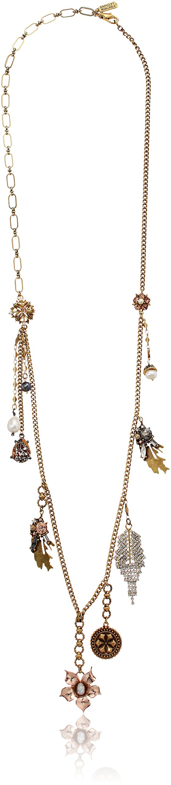 Badgley Mischka Flower and Charm Necklace