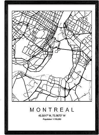 Nacnic Imprimer Plan De La Ville De Montreal Style Nordique Noir Et Blanc Affiche De Format