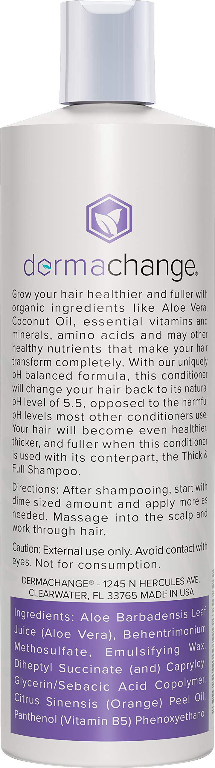 Hair Growth Organic Conditioner - Grow Hair Fast - Sulfate Free - Best Hair Products With Vitamins - Prevent Hair Loss - Helps Dermatitis - For Women and Men - Made in USA, 16 fl.oz.(473ml) by DermaChange (Image #2)