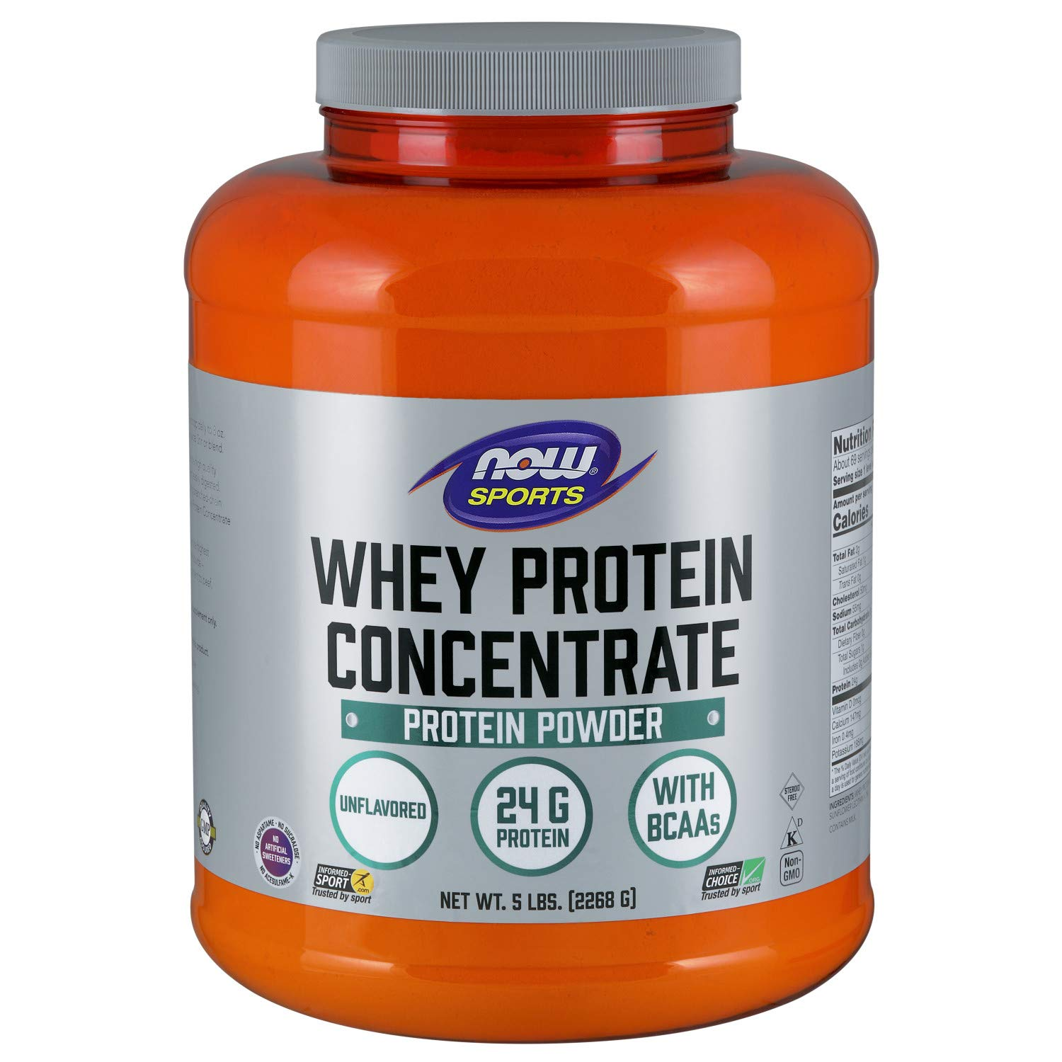 NOW Sports Nutrition, Whey Protein Concentrate Powder, Unflavored, 5-Pound by Now Sports