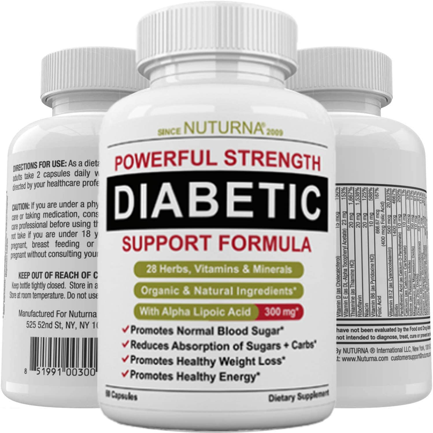 Diabetic Support Formula - 28 Vitamins Minerals Herbs with 300 mg Alpha Lipoic Acid for Blood Sugar Support & Extra Energy Support - Diabetes Nutritional Supplement for Men & Women: Health & Personal Care