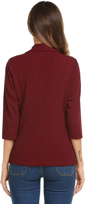 Dealwell Open Front Knit Blazer Long Sleeve Slim Fit Office Cardigan Jacket for Women