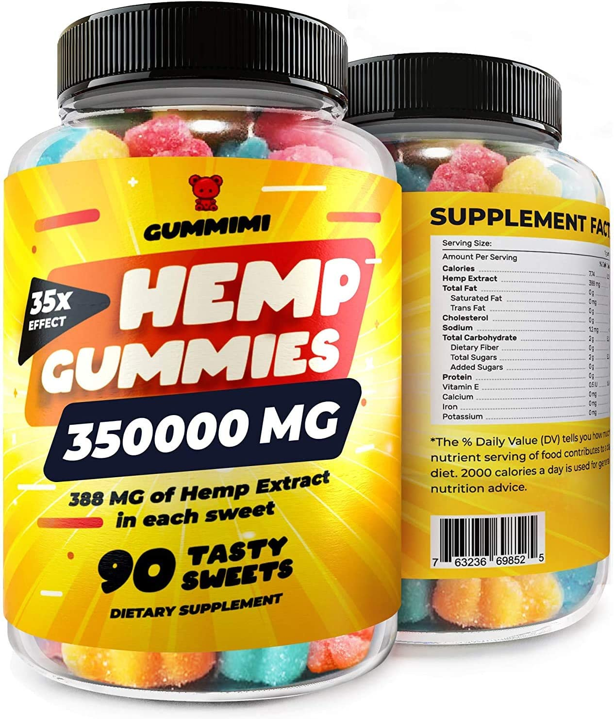 Gummies for Pain, Anxiety, Sleep, Stress Relief, 35000 MG, High Potency, Premium Calm Gummy Bears with Oil - 100% Natural - Improves Memory, Focus, Attention - Omega 3, 6, 9 & Vitamins B, E