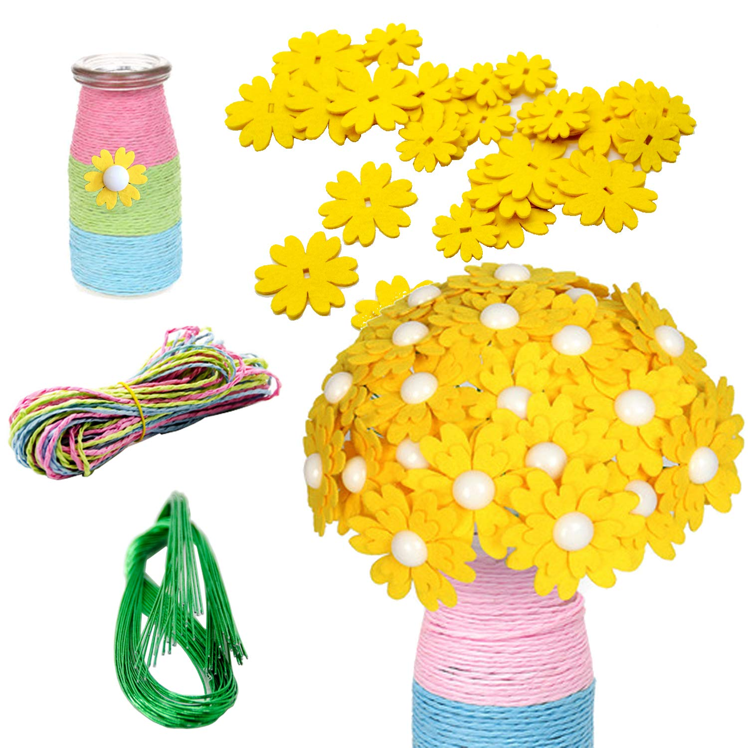 Iceyyyy Flower Crafts Kit DIY Craft Iron Wire Button Felt Bouquets Kit for Kids