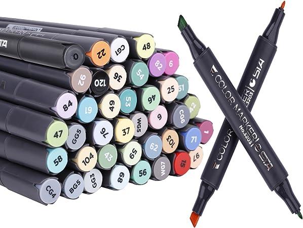 bangcool Dual Tips Arte Marcadores, 41 Colores artista Sketch 2 ...