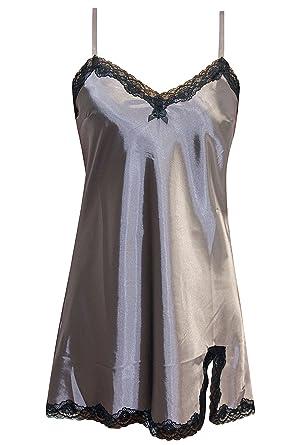 new cheap classic fit 50% off Lascana Damen Nachthemd Satin Negligee Sleepshirt ...