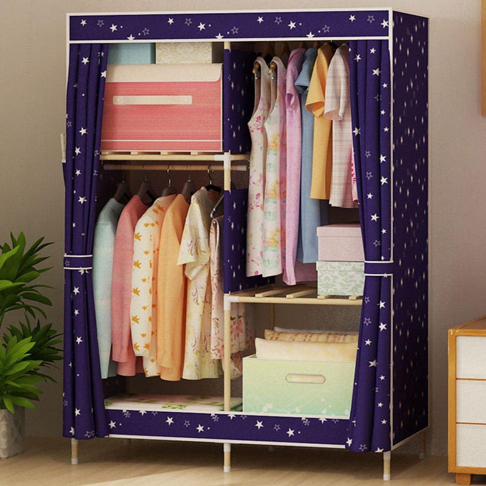 Garde-robe de tissu de bois solide garde-robe unique économique simple Oxford moderne - 63 * 39 (160 * 100cm) - E