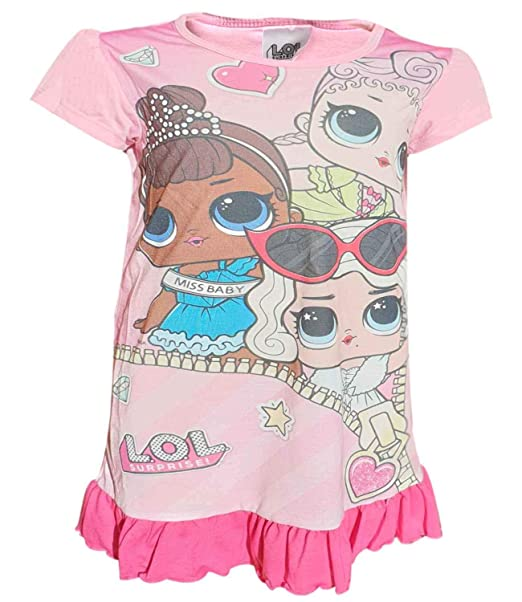 LOL Surprise Dolls Glitterati Pyjama Short Sleeve Nightdress Girls Nightie 4-10y