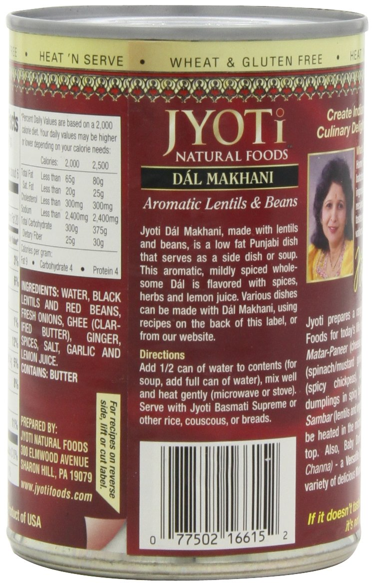 Jyoti Natural Foods Dal Makhani, Aromatic Lentils and Beans, 425 gram Cans,  (Pack of 12) by Jyoti (Image #6)