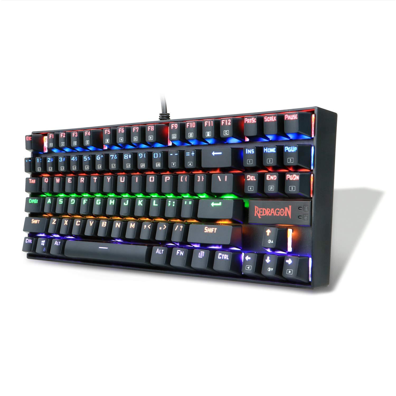 ... KUMARA LED Rainbow Backlit Mechanical Gaming Keyboard Small Mechanical Gamers Keyboard 87 Key Metal Computer USB Gaming Keyboard for PC Quiet Cherry MX ...