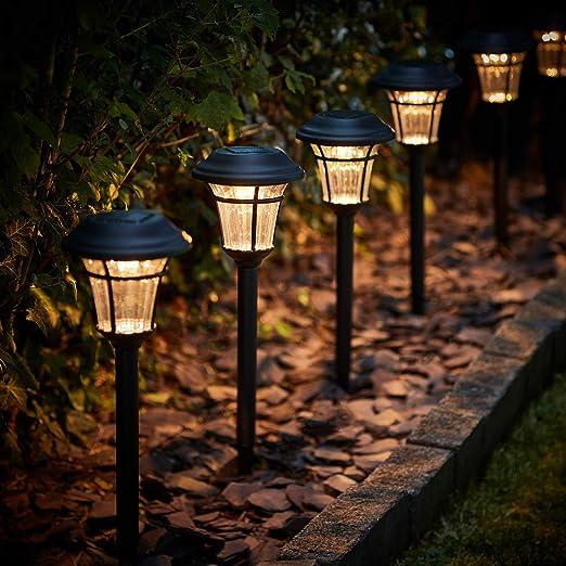 Lights4fun - Juego de 6 lámparas solares LED para jardín (luz blanca cálida): Amazon.es: Iluminación