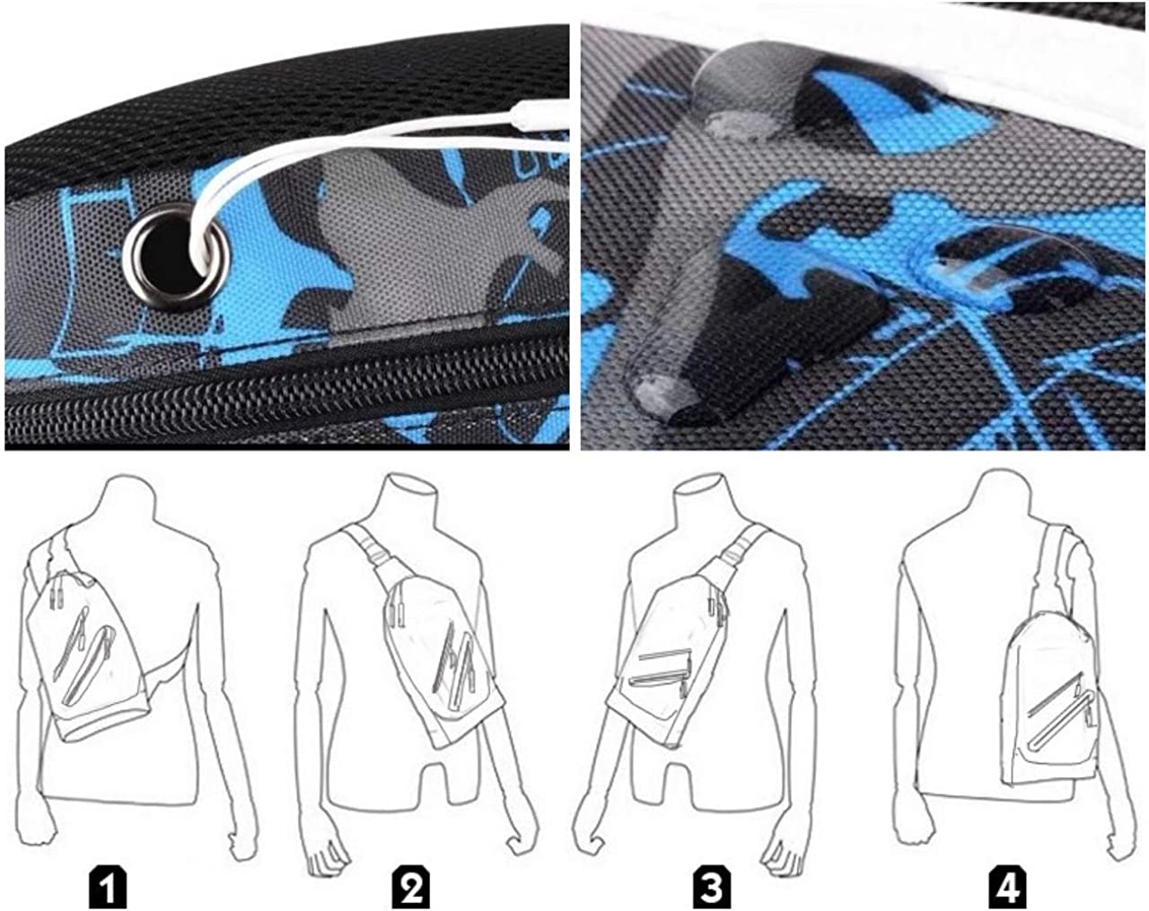2 bags included white /& blue - Urban sling backpack good for daily bags and couple bags for TWO Square sling backpack Kk bags for teens Multi sling bag