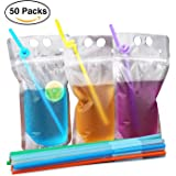 NaYard Disposable Plastic Drink Pouches Bags 17oz with Straw case of 50