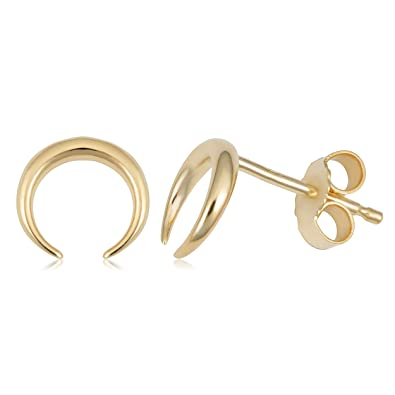 349221458c4d Image Unavailable. Image not available for. Color  14k Yellow Gold Crescent  Moon Stud Earrings