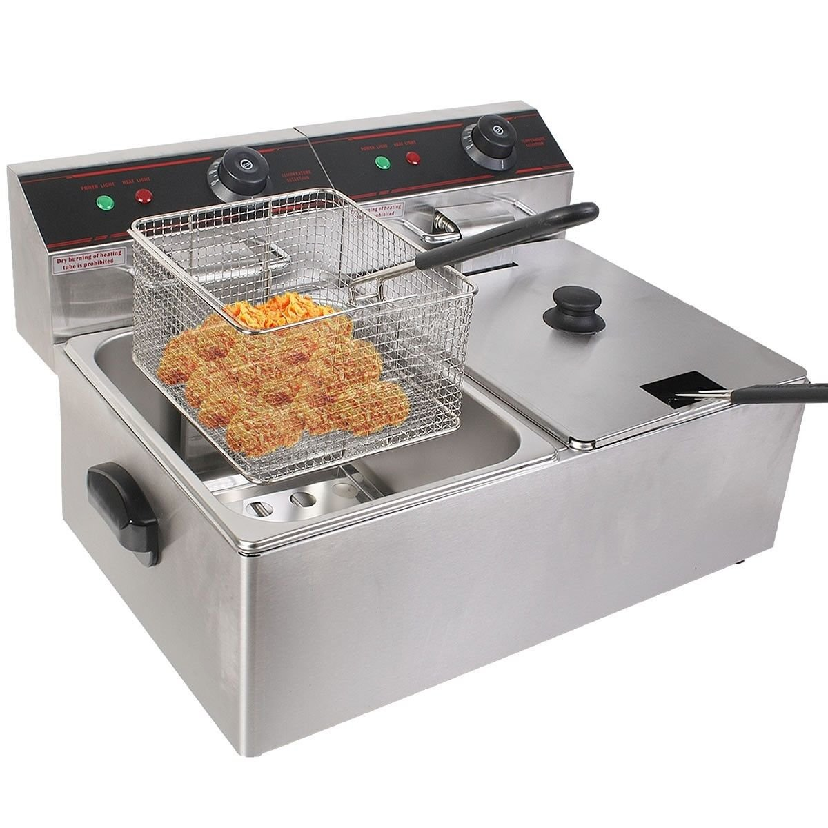 GHP Business Heavy Duty Tabletop Stainless Steel 110V Dual Tank Electric Fryer