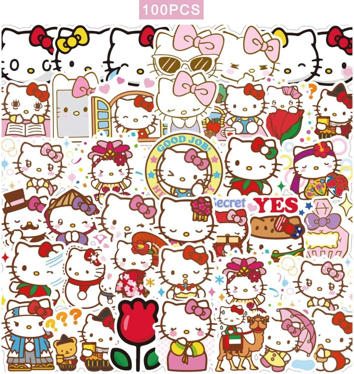 Your Store 100pcs Hello Kitty Stickers Japanese Sanrio Kawaii Stickers Aesthetic Vinyl Stickers for Water Bottles Skateboard Laptop for Kids Adults Teens Waterproof Sticker Packs