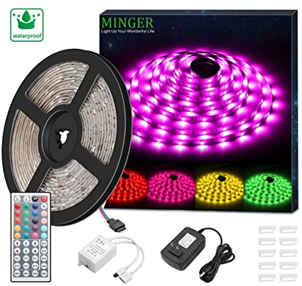 Amazon minger led strip light waterproof 164ft rgb smd 5050 minger led strip light waterproof 164ft rgb smd 5050 led rope lighting color changing full aloadofball Gallery