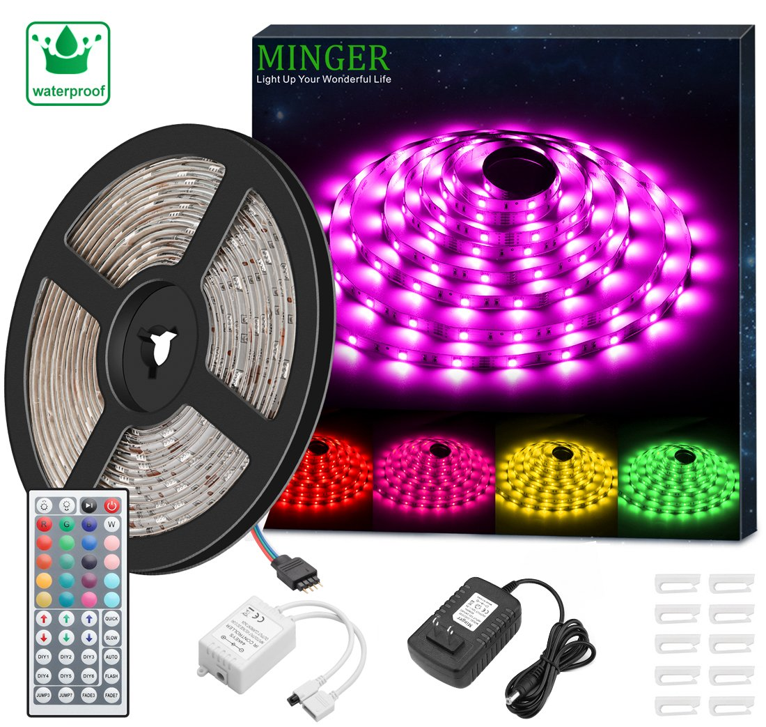 MINGER LED Strip Light Waterproof 16.4ft RGB SMD 5050 LED Rope Lighting Color Changing Full Kit with 44-keys IR Remote Controller & Power Supply LED Lighting Strips for Home Kitchen Indoor Decoration