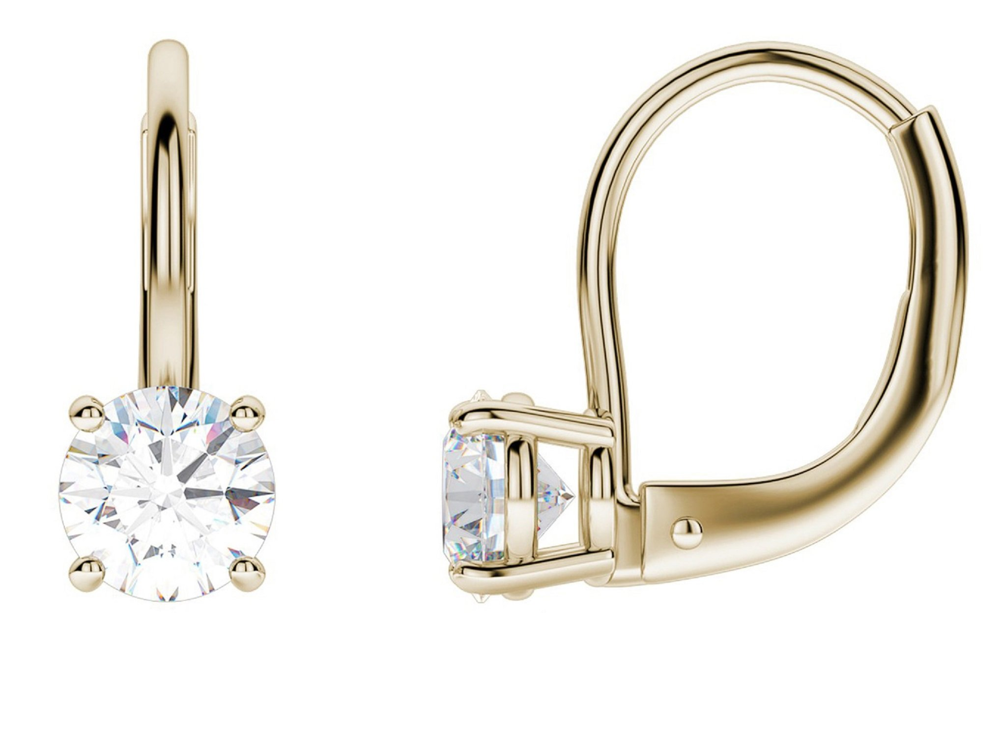 2.0 CT BRILLIANT ROUND CUT Simulated Diamond CZ Solitaire DROP DANGLE LEVERBACK EARRINGS 14K Yellow GOLD