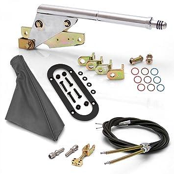 Americana Shifter Empresa asc7adbd soporte de suelo, negro anillo de arranque de emergencia freno de estacionamiento gris y Kit de cables: Amazon.es: Coche ...