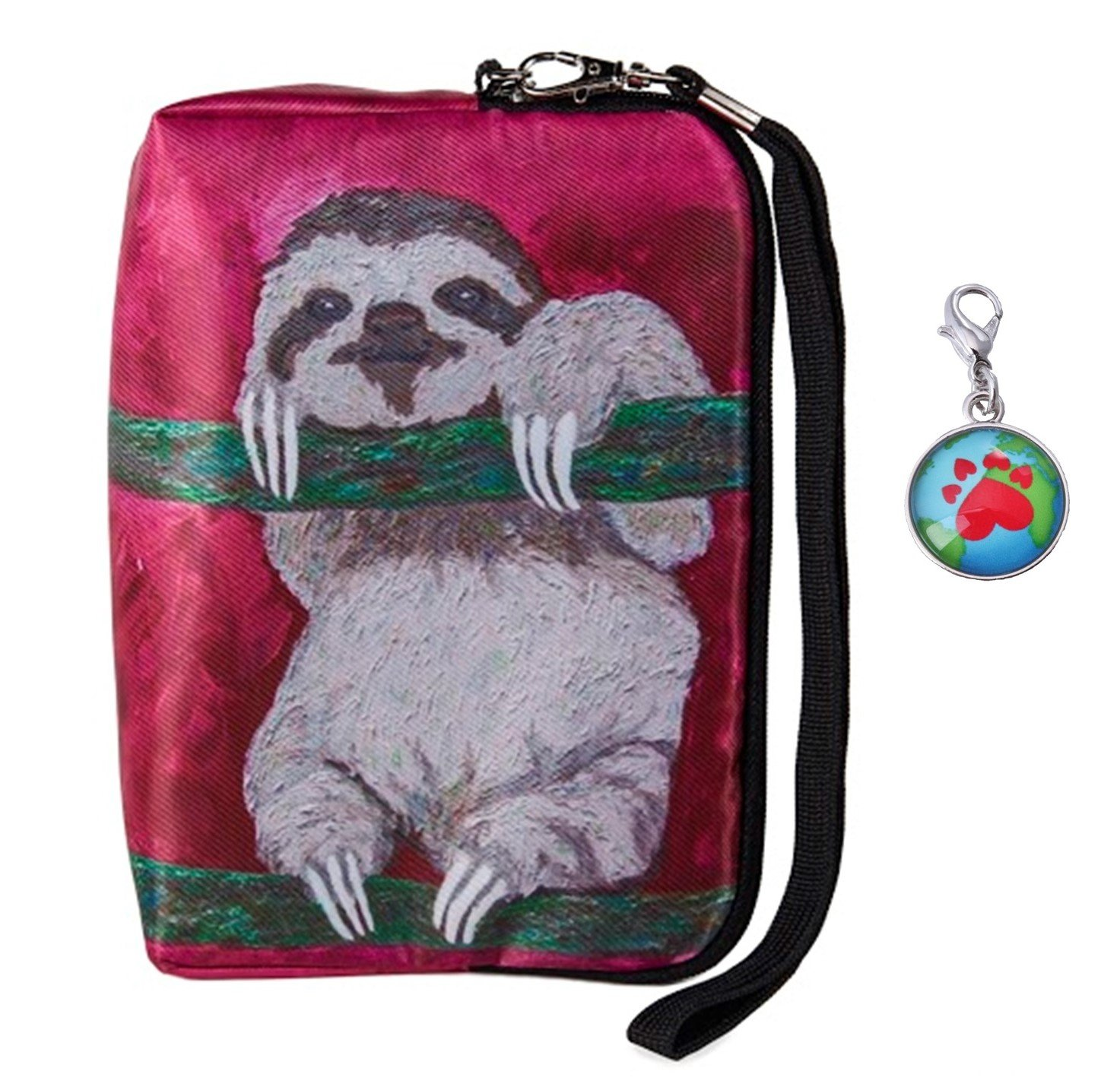 Sloth Wristlet Zip-top with Detachable Strap and Charm - Vegan - From My Painting, Leisurely Life