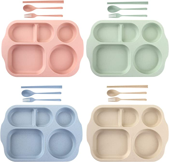 Nicunom 4 Pack Unbreakable Divided Plates, 5-Compartment Wheat Straw Tray Section Plates for Toddlers Kids Children Adults, Microwave Dishwasher Safe, BPA Free, Lightweight, 11 Inch