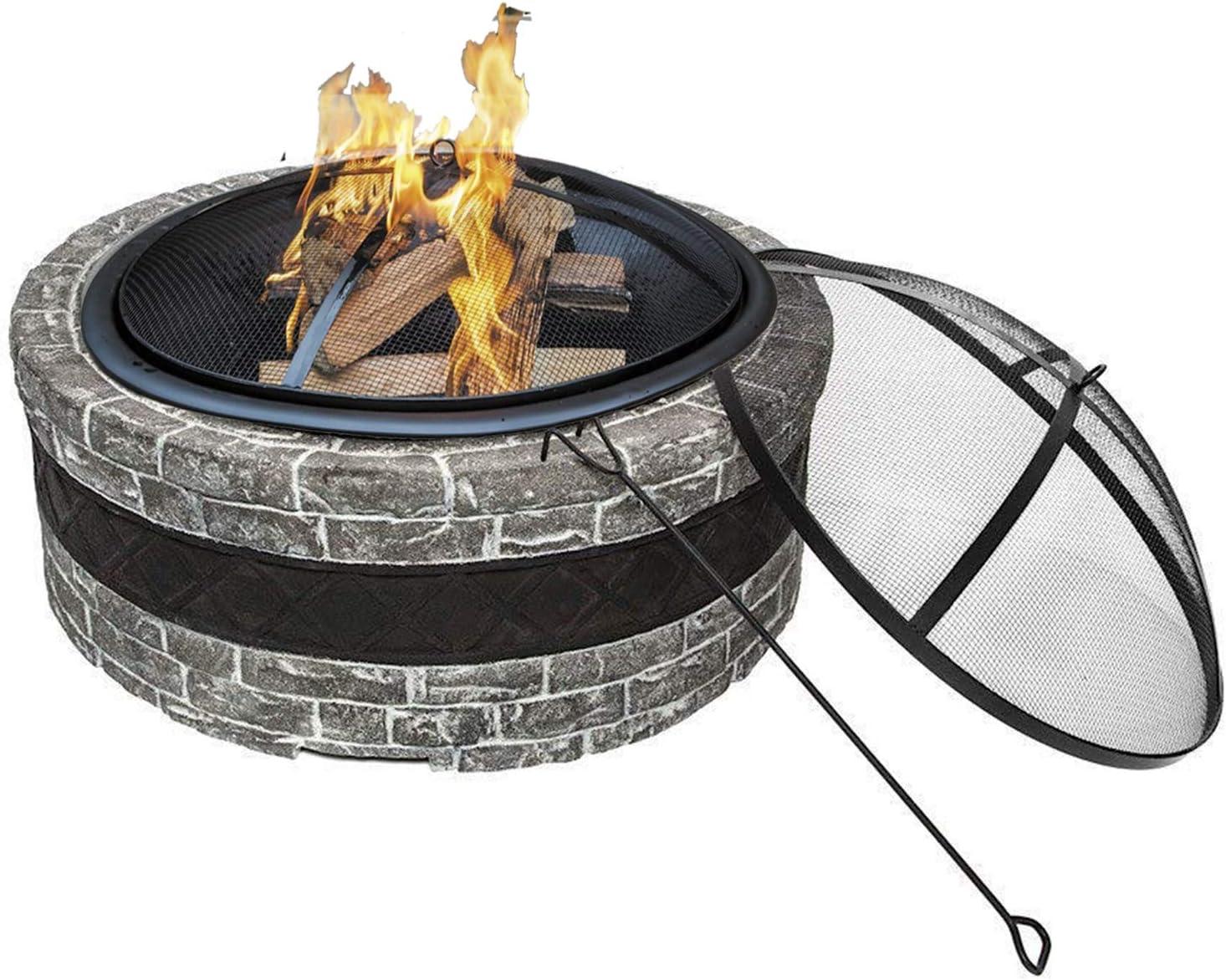 Juego de pozo de fuego al aire libre, Chimenea de jardín Estufa de calefacción de Villa Brasero de calefacción para el hogar Paisaje al aire libre Leña Canasta de fogata Pozo de fuego decorativo