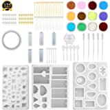 SUBANG 10 Pack Jewellery Casting Moulds Silicone Resin Jewellery Moulds with 48 Screw Eye Pins, 40 Straight Pins, 5 Plastic Stirrers, 5 Plastic Spoons, 5 Plastic Droppers and 1 Glitter Powder Sequins