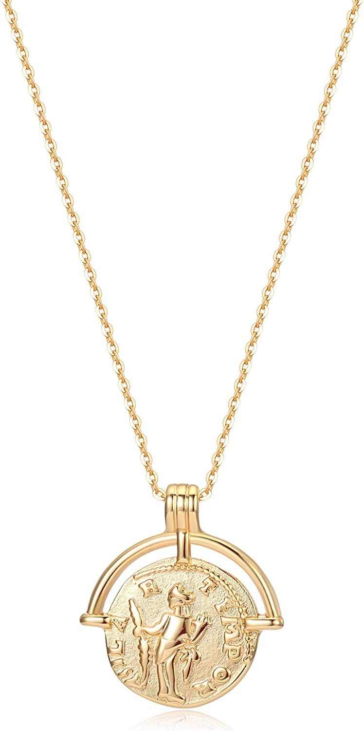Mevecco Carved Gold Coin Pendant Necklace for Women Girls Men,14K Gold Plated Dainty Minimalist Necklace for Women