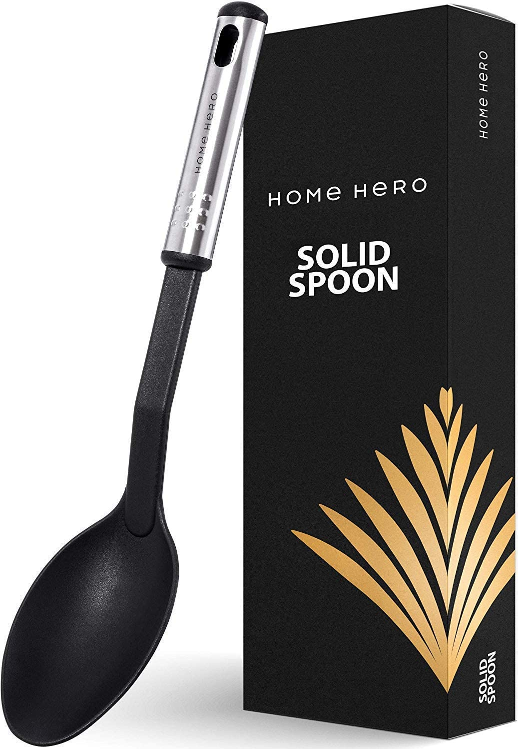 Nylon Spoon Large Cooking Spoon Basting Spoon - Solid Serving Spoon for Cooking - Large Kitchen Spoon Cooking Non Slotted Spoon - Nonstick Serving Spoon - Nylon Spoons for Cooking Solid Spoon