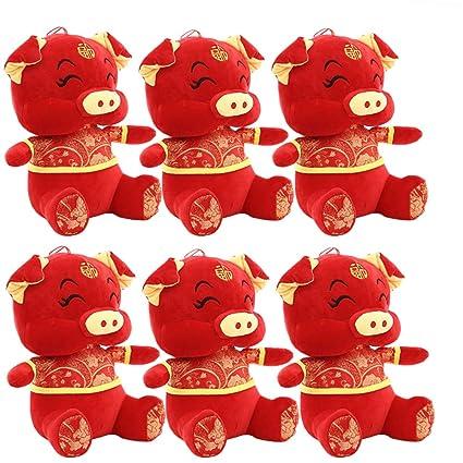 Amazon.com: SUSHAFEN - 6 peluches de cerdo rojo 2019 año de ...