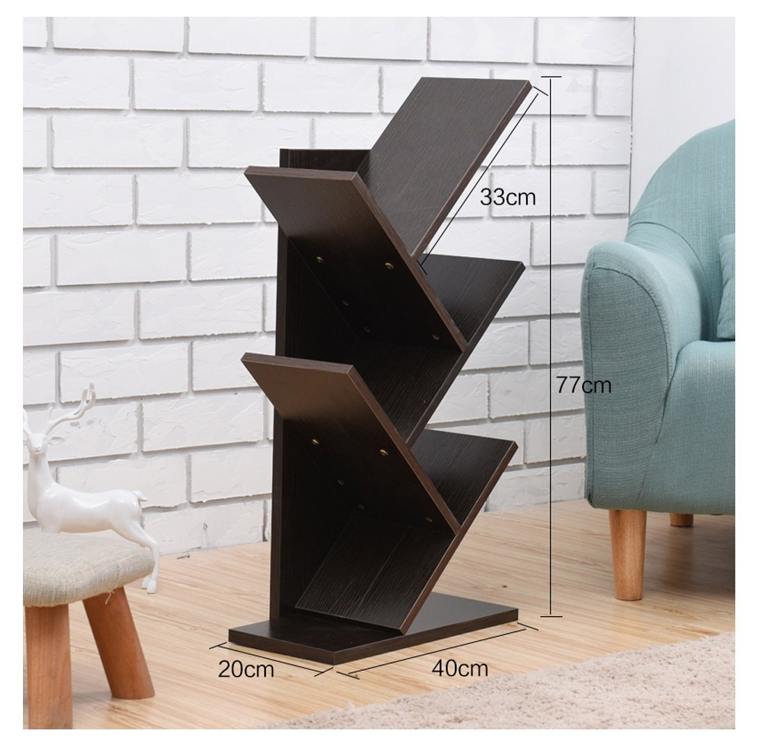 Color : Black Estantes estanter/ías piso varias plantas estantes de /árboles simples y modernos estantes de estudio libreros simples