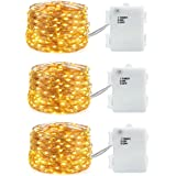 3 PCS Fairy Lights String Lights Battery Operated Waterproof 60 LED 20ft Copper Wire Lights Timer (6 Hours On and 18 Hours Off) Indoor and Outdoor for Mason Jar Christmas Decoration Bedroom Warm White